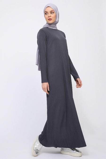İLMEK TRİKO Füme Pliseli Elbise