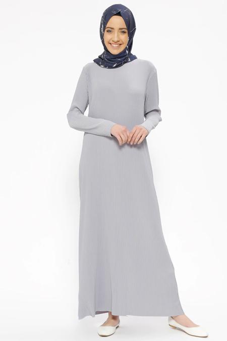 İLMEK TRİKO Gri Piliseli Elbise