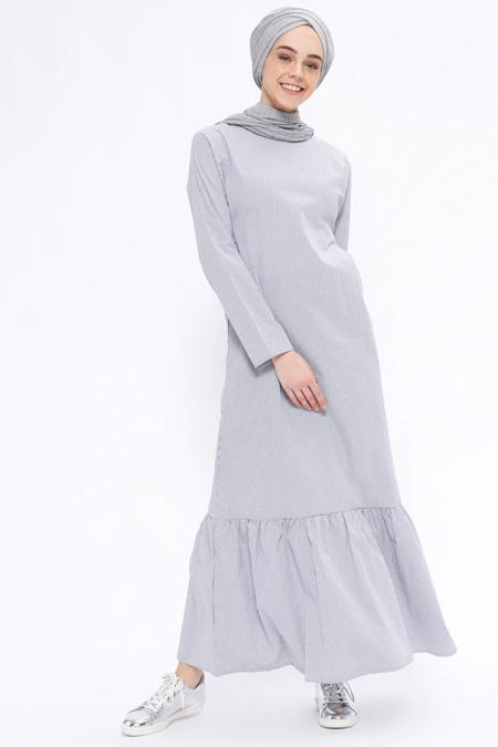 İLMEK TRİKO Lacivert Çizgili Elbise