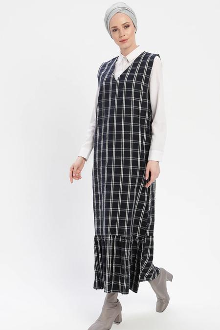 İLMEK TRİKO Lacivert Kolsuz Ekose Elbise