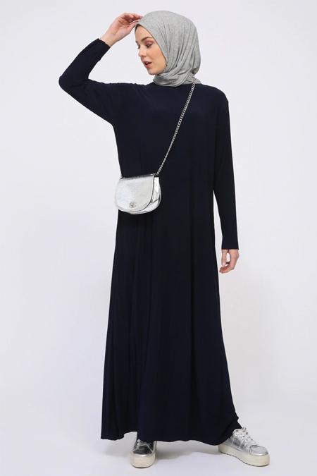 İLMEK TRİKO Lacivert Pliseli Elbise