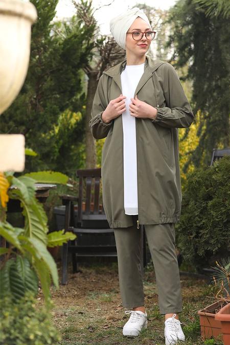 İnşirah Haki Ceket & Pantolon İkili Takım