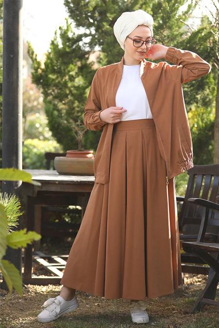 İnşirah Taba Etek & Ceket İkili Takım