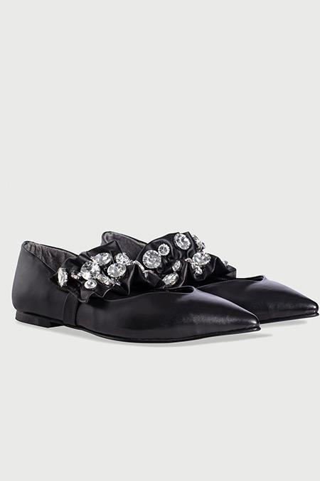 Ipekyol Siyah Taş Aplike Bantlı Düz Ayakkabı