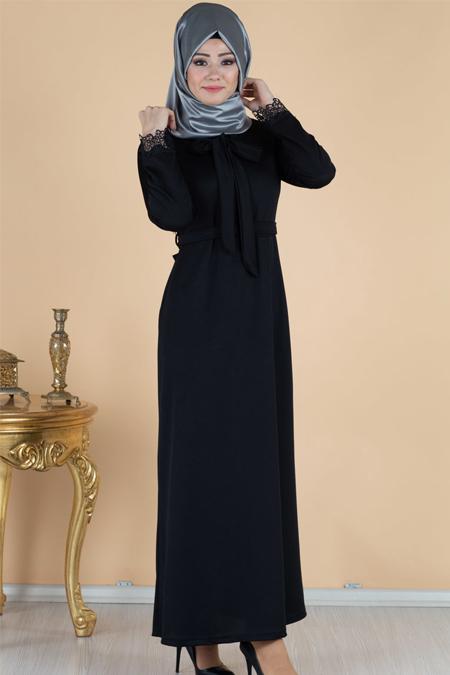 Kolu Dantel Detaylı Tesettür Elbise
