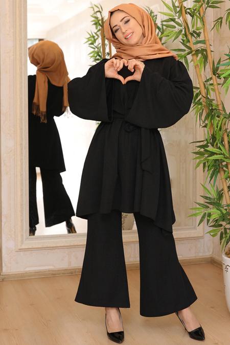 Lef`zen Siyah Simli Tunik & Pantolon İkili Takım