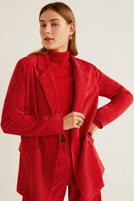 Mango Kırmızı İnce Fitilli Kadife Blazer Ceket