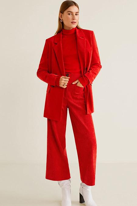 Mango Kırmızı İnce Fitilli Kadife Düz Kesim Pantolon