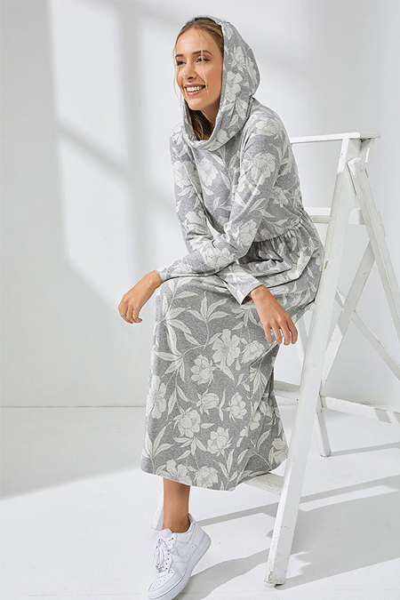 Muni Muni Gri Doğal Kumaşlı Kapüşonlu Elbise