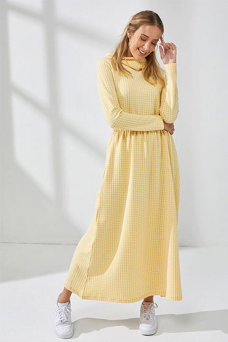 Muni Muni Sarı Doğal Kumaşlı Kapüşonlu Elbise