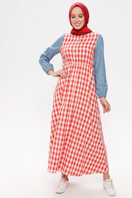 NAKŞİN Kırmızı Doğal Kumaşlı Kareli Elbise