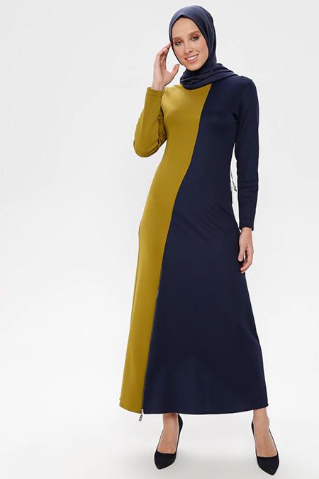 NAKŞİN Lacivert Yeşil Garnili Elbise