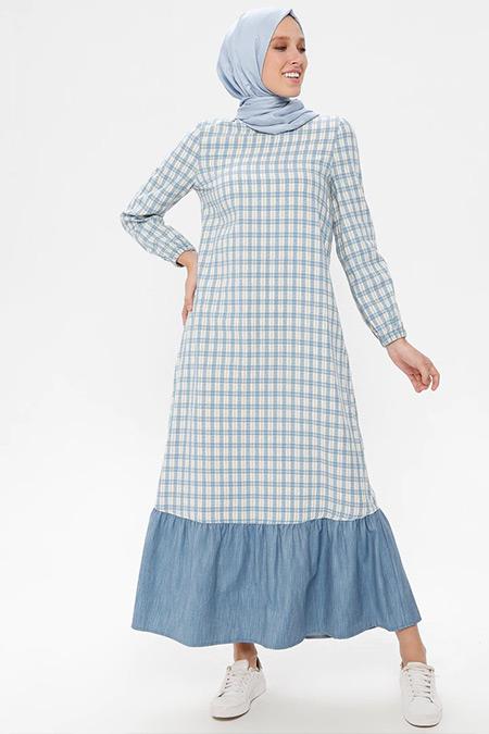 NAKŞİN Mavi Doğal Kumaşlı Kareli Elbise
