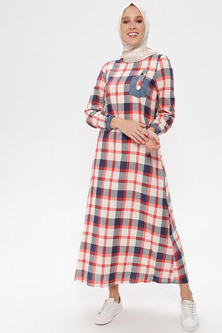 NAKŞİN Nar Çiçeği Doğal Kumaşlı Kareli Elbise