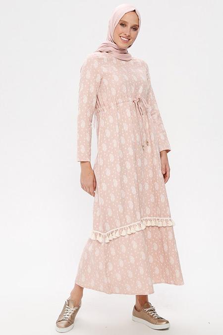 NAKŞİN Pudra Doğal Kumaşlı Desenli Elbise