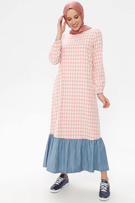 NAKŞİN Açık Pudra Doğal Kumaşlı Kareli Elbise