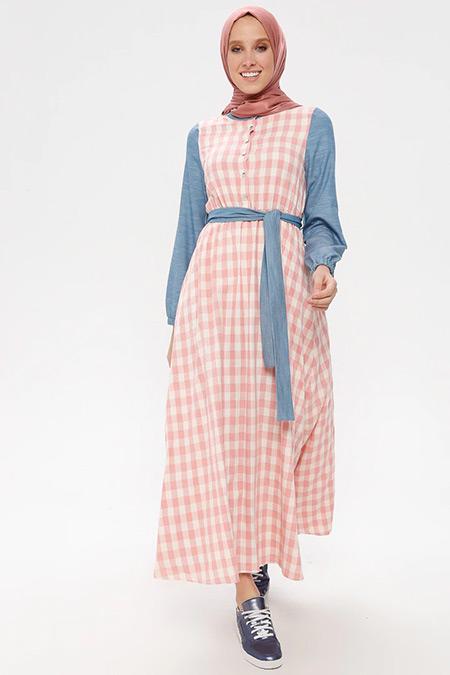 NAKŞİN Pudra Doğal Kumaşlı Kareli Elbise