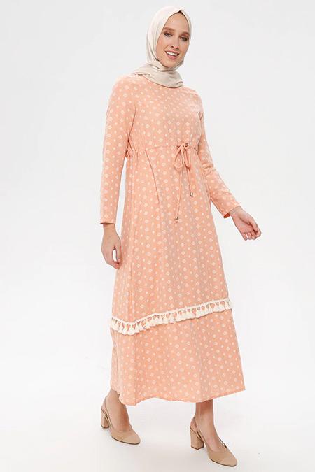 NAKŞİN Turuncu Doğal Kumaşlı Desenli Elbise