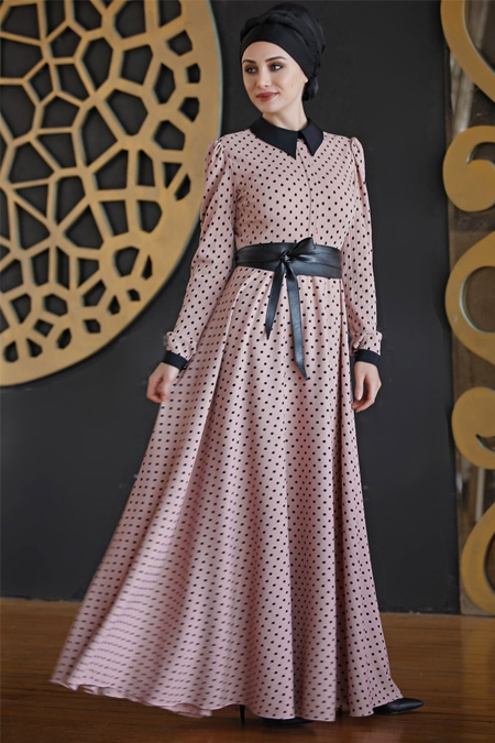 Nurkombin Pudra Puantiyeli Elbise