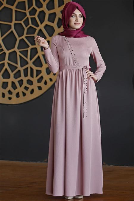 Nurkombin Pudra Safir Elbise