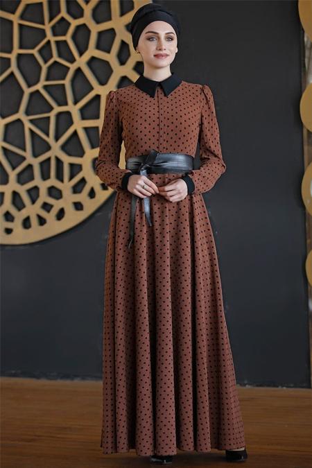 Nurkombin Tarçın Puantiyeli Elbise
