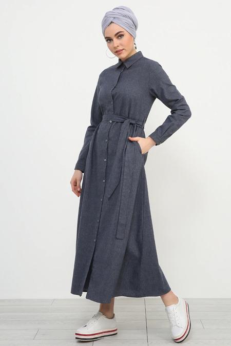 Refka Antrasit Boydan Düğmeli Kuşaklı Elbise