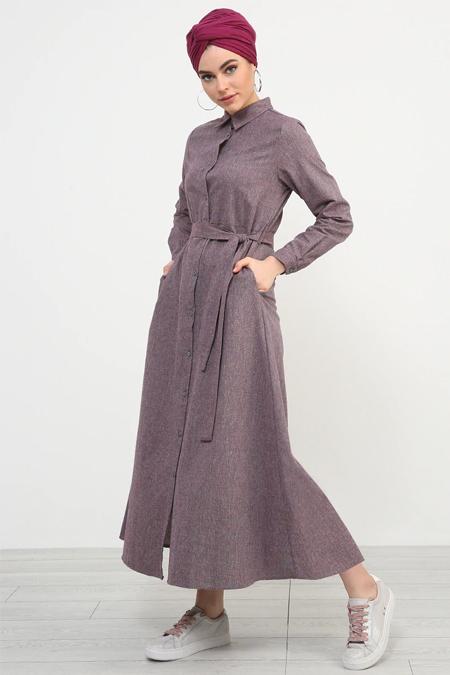 Refka Bordo Boydan Düğmeli Kuşaklı Elbise