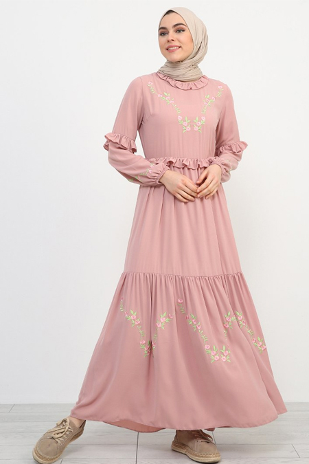 Refka Pudra Nakış Detaylı Fırfırlı Elbise