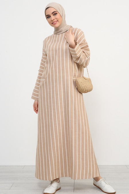 Refka Vizon Çizgili Salaş Elbise