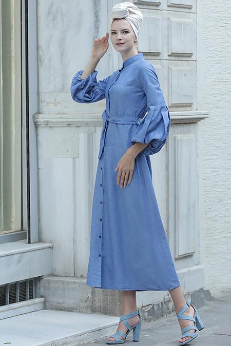 Selma Sarı Design İndigo Balon Kol Gömlek Elbise