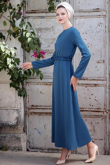 Selma Sarı Design İndigo Basic Kemerli Fırfırlı Elbise