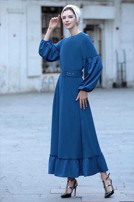 Selma Sarı Design İndigo Kemerli Mira Elbise