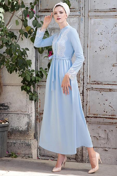 Selma Sarı Design Bebe Mavi Rahat Kesim Dantel Detaylı Elbise