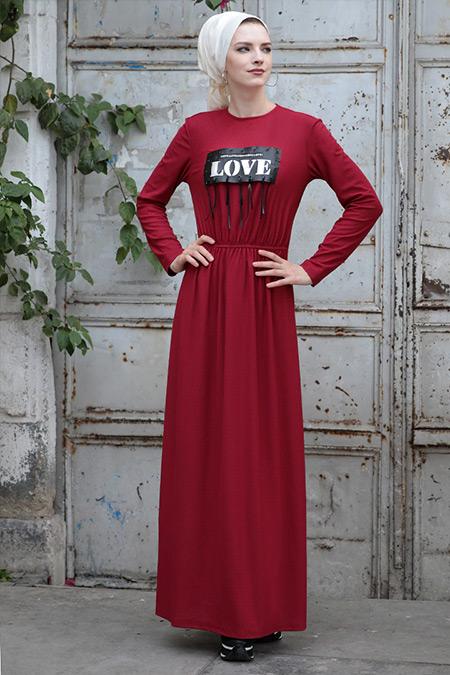 Selma Sarı Design Bordo Mery Elbise