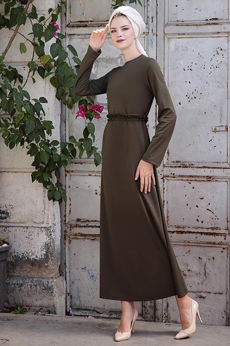 Selma Sarı Design Haki Basic Kemerli Fırfırlı Elbise