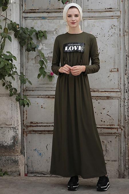 Selma Sarı Design Haki Mery Elbise