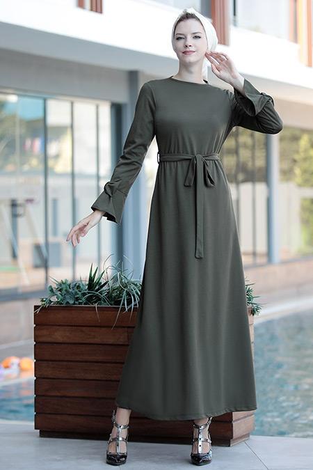 Selma Sarı Design Haki Rahat Kesim Kolu Fiyonklu Elbise