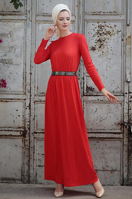 Selma Sarı Design Kırmızı Gamze Elbise