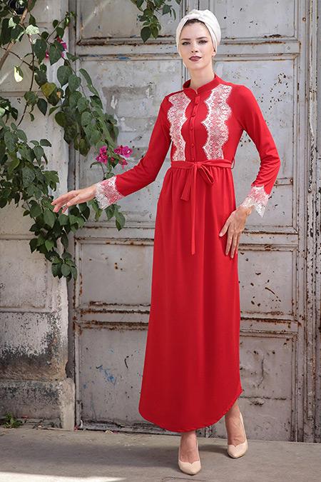 Selma Sarı Design Kırmızı Rahat Kesim Dantel Detaylı Elbise