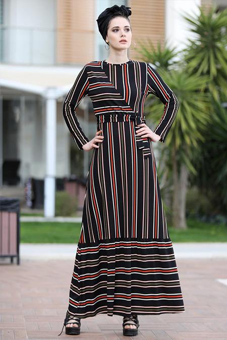 Selma Sarı Design Kiremit Siyah Kruvaze Çizgili Elbise
