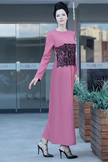 Selma Sarı Design Koyu Pudra Önü Tül Detaylı Elbise