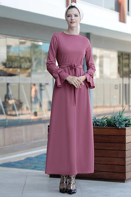 Selma Sarı Design Koyu Pudra Rahat Kesim Kolu Fiyonklu Elbise