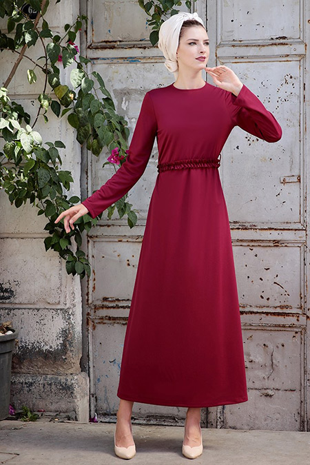 Selma Sarı Design Mürdüm Basic Kemerli Fırfırlı Elbise