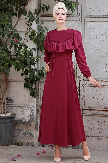 Selma Sarı Design Mürdüm Fırfır Dantel Detaylı Elbise
