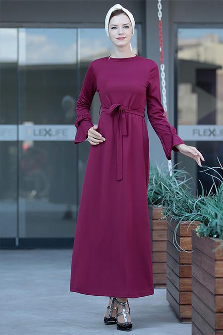 Selma Sarı Design Mürdüm Rahat Kesim Kolu Fiyonklu Elbise