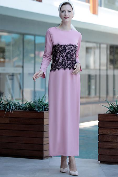 Selma Sarı Design Pudra Önü Tül Detaylı Elbise