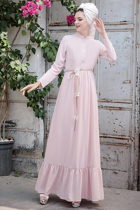 Selma Sarı Design Pudra Bahar Elbise