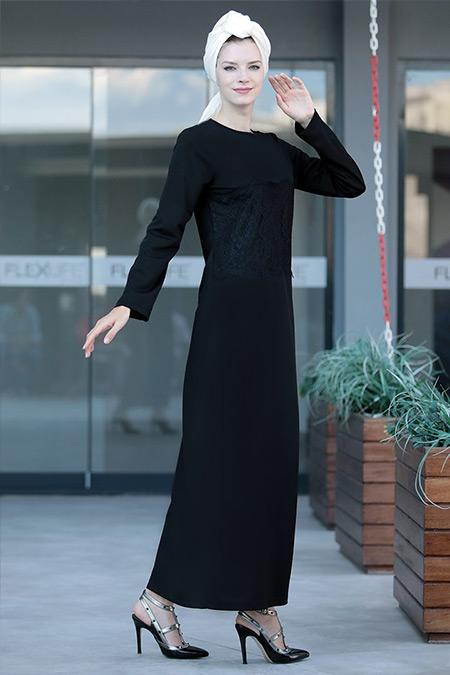 Selma Sarı Design Siyah Önü Tül Detaylı Elbise