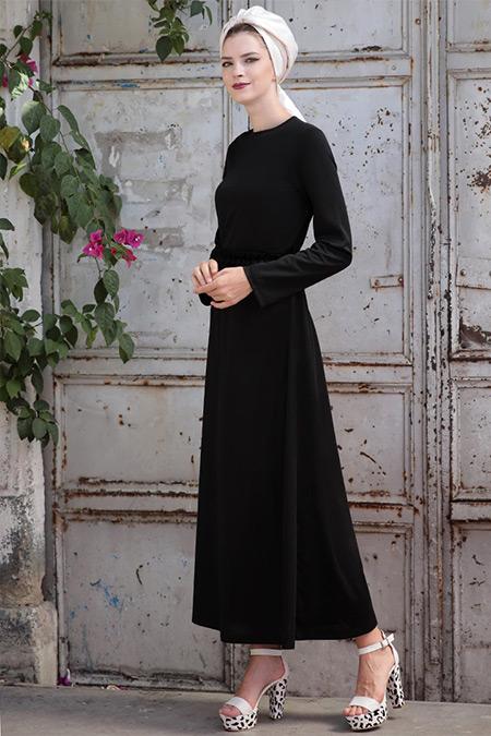 Selma Sarı Design Siyah Basic Kemerli Fırfırlı Elbise