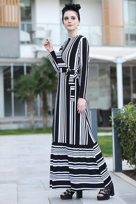 d8c0a6939f837 Selma Sarı Design Siyah Beyaz Kruvaze Çizgili Elbise Online Satış ...